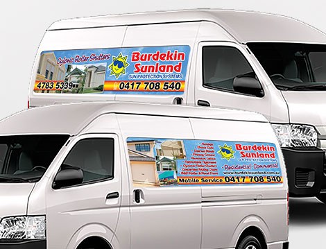 Burdekin Sunland Motor Vehicle Signage designed by GGA Graphics