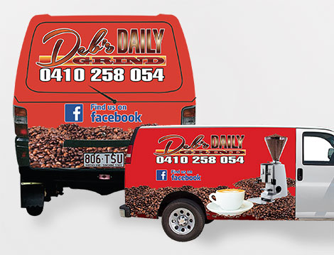 Debs Daily Grind Motor Vehicle Signage designed by GGA Graphics