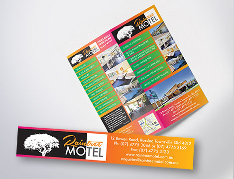 Raintree Motel flyers designed by GGA Graphics