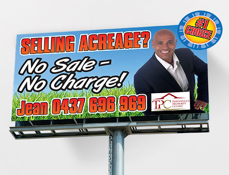 Townsville Property Centre Billboard designed by GGA Graphics