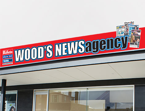 Wood's News Agency Shop Signage designed by GGA Graphics'