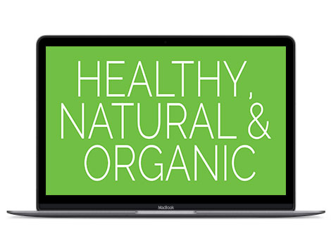 Green in design represents health, natural and organic