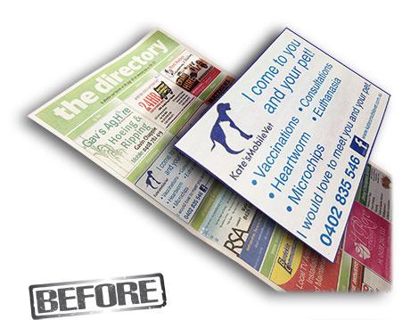 kates Mobile Vet Newspaper advert before